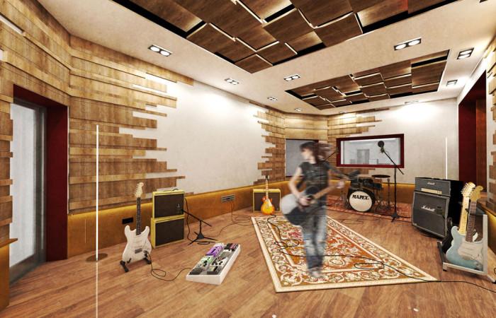 Sugar recording studio architects srl for Recording studio live room design